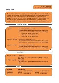 CV-Vorlage Textfelder - orange