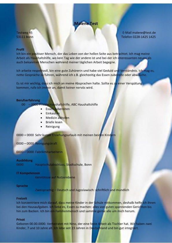 Lebenslauf chronologisch mit Profil - Blumen - CV & Bewerbung