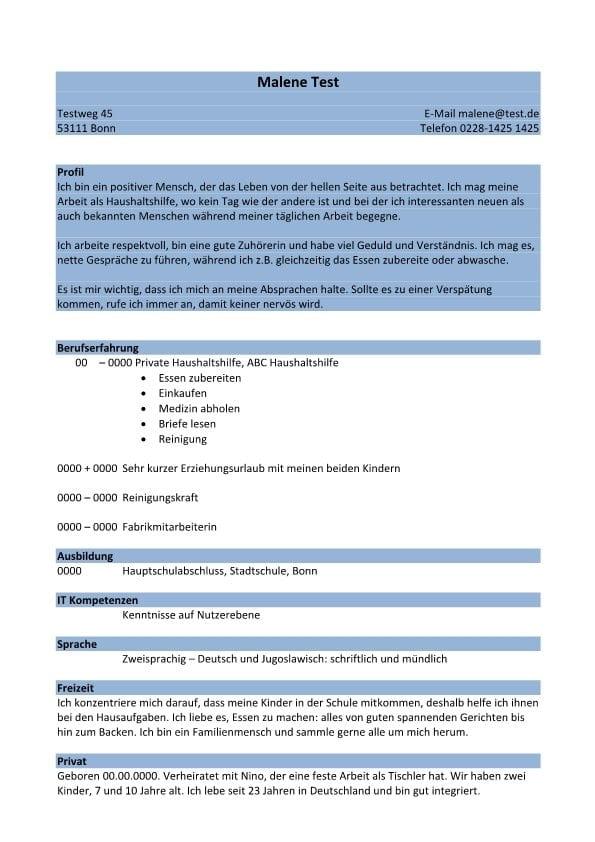 Lebenslauf chronologisch mit Profil - blau - CV & Bewerbung