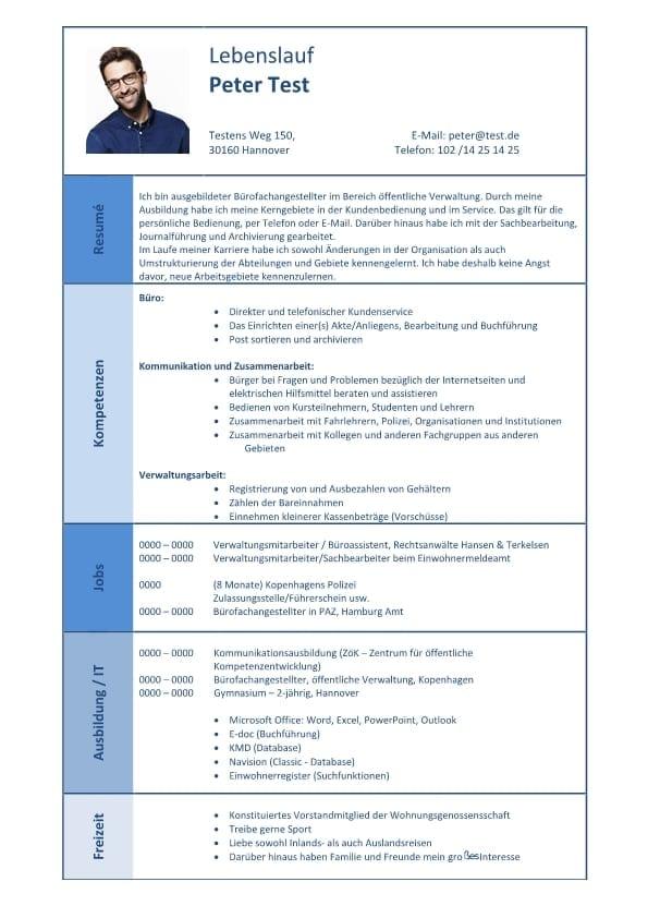 Lebenslauf Kompetenzen Buro Kommunikation Verwaltung Cv Bewerbung