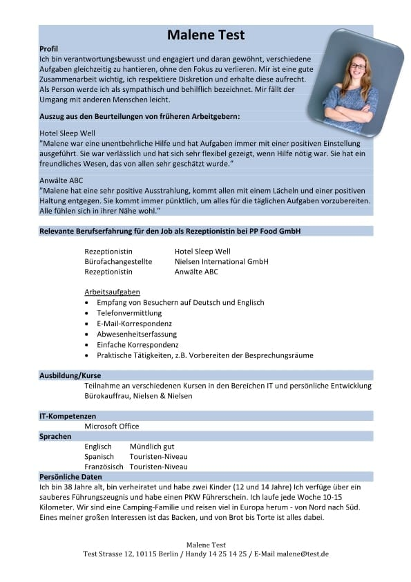 Bewerbung und Lebenslauf mit grüner Schrift im Header - CV & Bewerbung