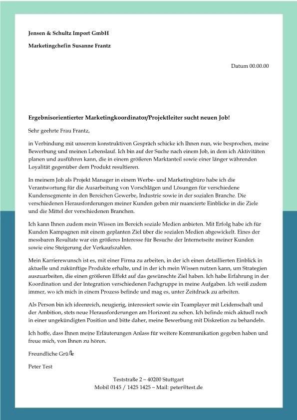 Projektleiter - Marketingkoordinator m/w - CV & Bewerbung
