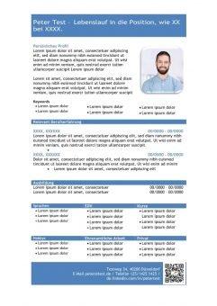 1 Vorlage-Lebenslauf-mit-Profil-in-tabellarischer-Form-blau