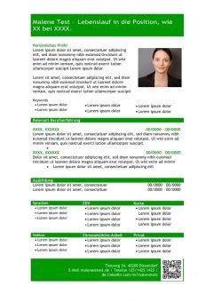 1 Vorlage-Lebenslauf-mit-Profil-in-tabellarischer-Form-grün