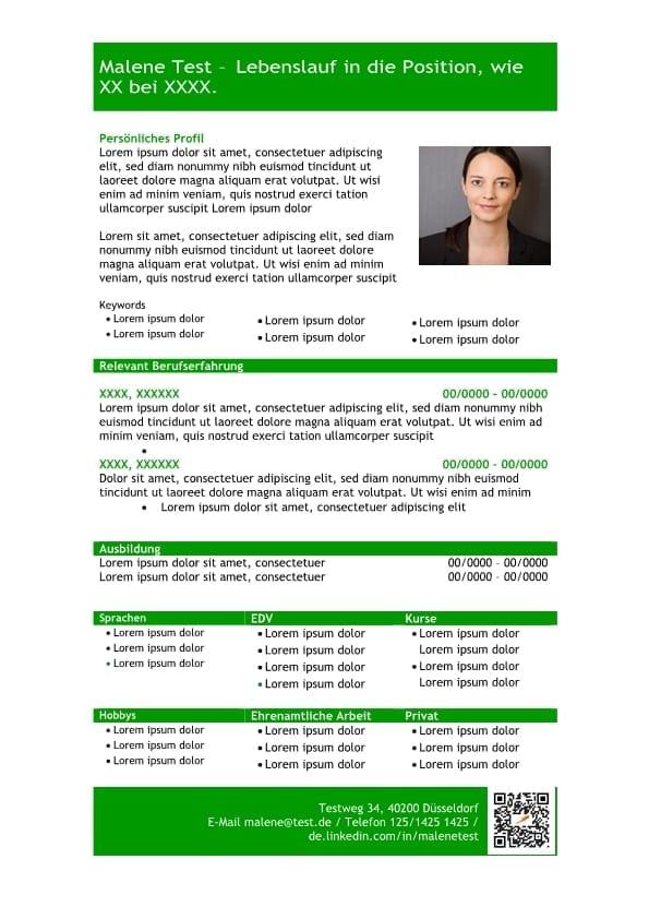 Vorlage Lebenslauf mit Profil in tabellarischer Form ...