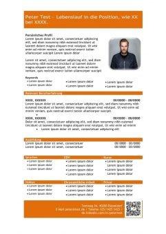 1 Vorlage-Lebenslauf-mit-Profil-in-tabellarischer-Form-orange