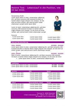 1 Vorlage-Lebenslauf-mit-Profil-in-tabellarischer-Form-purpel