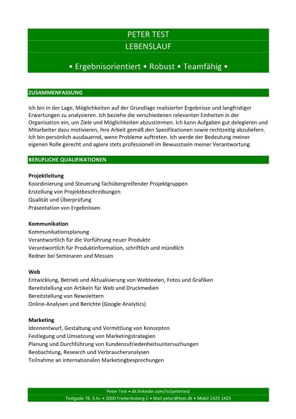 Lebenslauf Kompetenzen mit Berufsqualifikation - grün - 2 Seiten ...