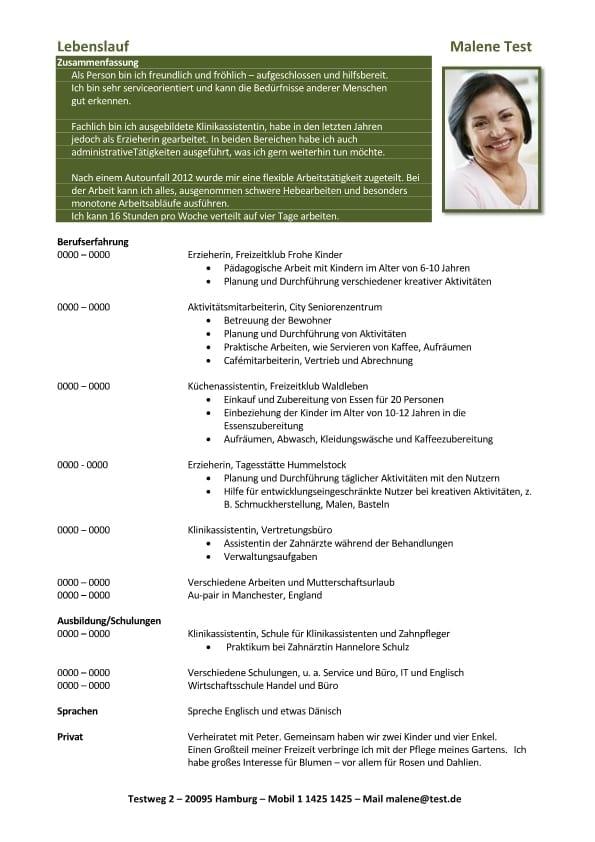 1 Lebenslauf-Chronologisch-Flexible-Arbeitstaetigkeit-grün