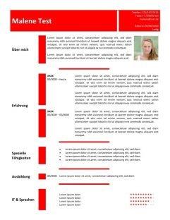 1 Lebenslauf-Vorlage-in-der-Tabelle-rot