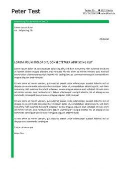 Bewerbung und Lebenslauf Layout mit grünen Linien