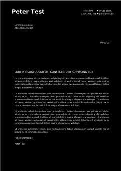 Bewerbung und Lebenslauf Layout mit schwarzem Hintergrund-page1
