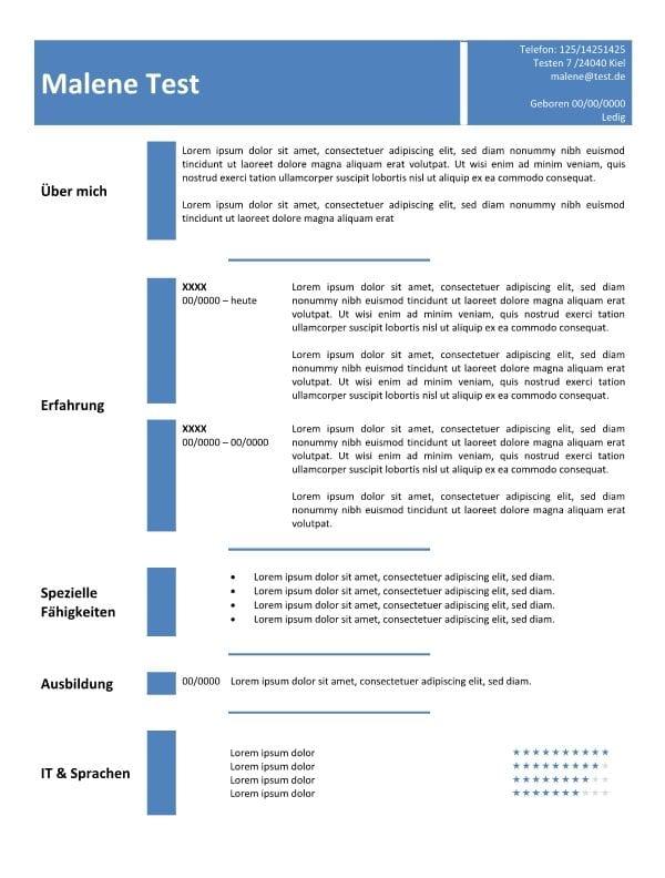 Lebenslauf - Vorlage in der Tabelle - blau