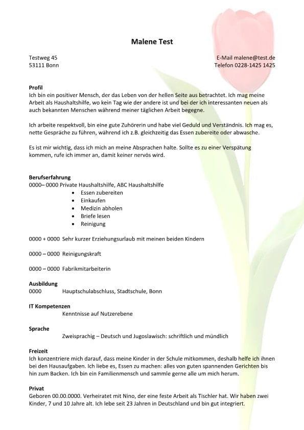 Lebenslauf chronologisch mit Profil - Tulpe
