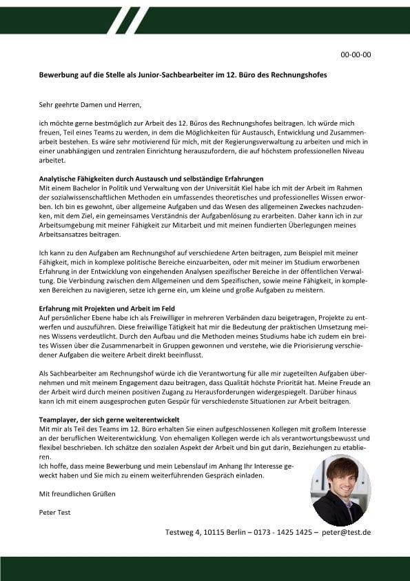 Junior-Sachbearbeiter Rechnungshof m/w - CV & Bewerbung