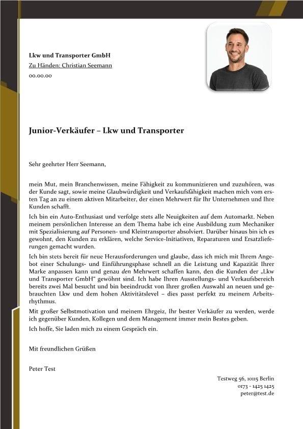 1 junior verkufer lkw und transporter - Bewerbung Verkaufer