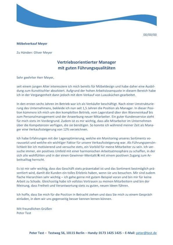 Store Manager - Möbel m/w - CV & Bewerbung