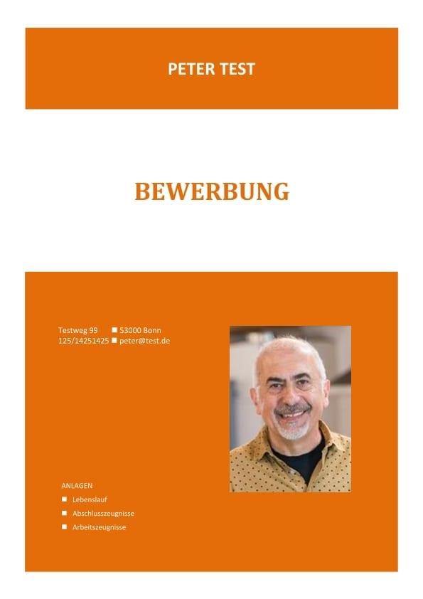 1 deckblatt orange farbe - Lebenslauf Deckblatt