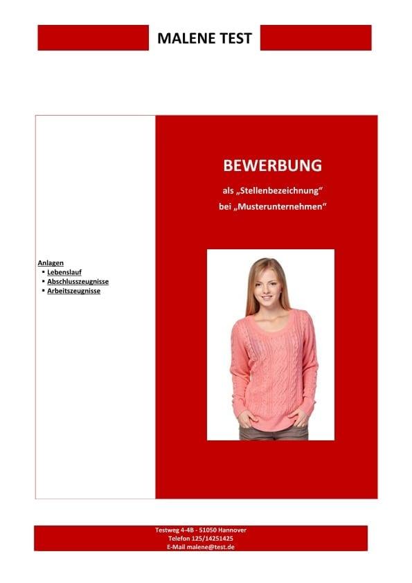 Deckblatt Rote Farbe Cv Bewerbung